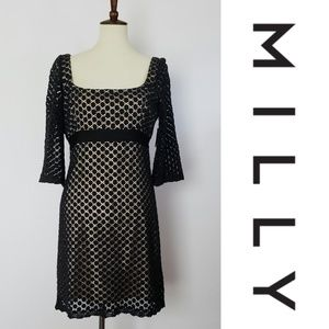 NWT Milly Empire Waist Black Dot Lace Dress